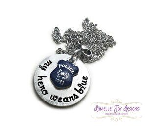 My Hero Wears Blue State Trooper Cop Police Officer Hero Marine Coastie Soldier Stamped Personalized Custom Necklace