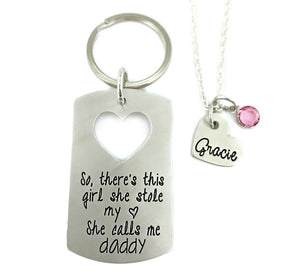 So There's This Girl She Stole My Heart She Calls Me Daddy - Keychain/Necklace Set