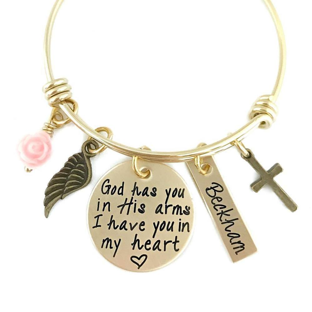 God Has You In His Arms - Gold Tone Personalized Adjustable Bracelet