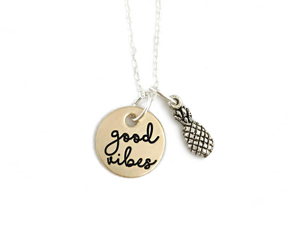 Good Vibes - Sterling Silver Pineapple Gold Filled Necklace