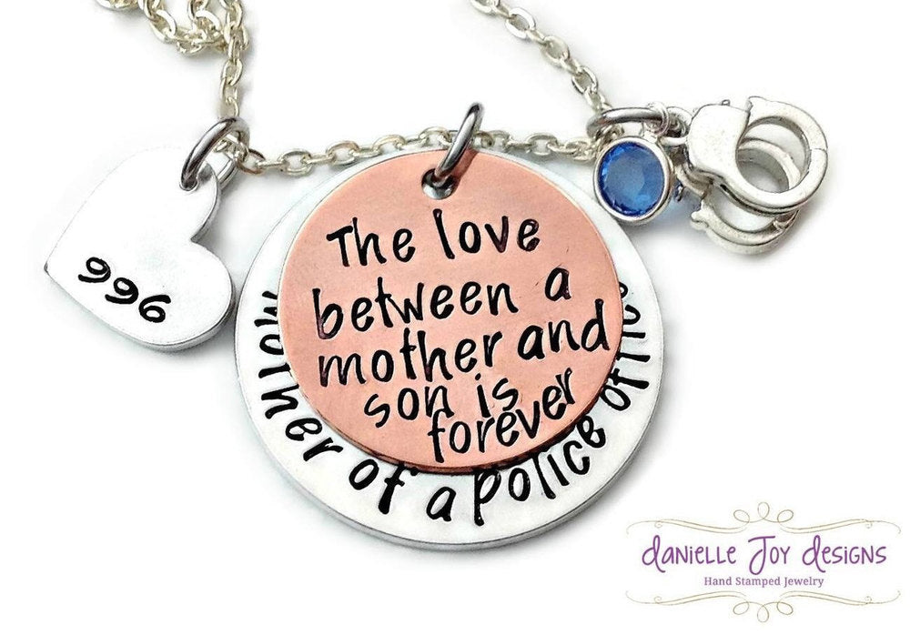 Mother of A Police Officer Firefighter Cop Hero The Love Between A Mother And Son Is Forever Necklace