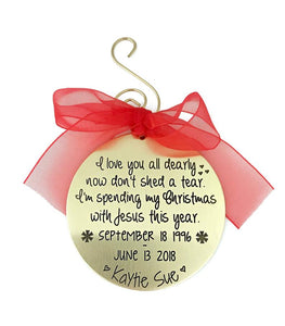 Personalized Memorial Christmas Ornament - Gold Tone
