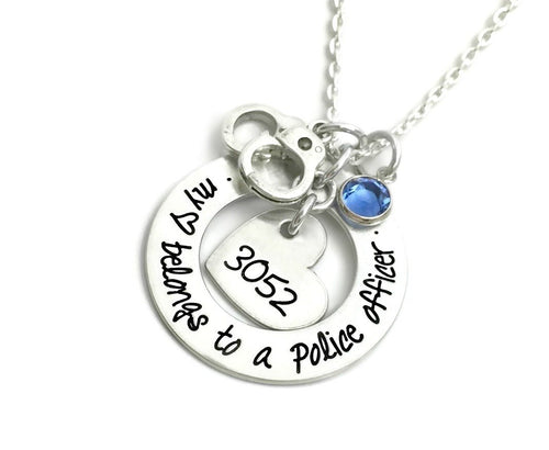 My Heart Belongs To A Police Officer - Hand Cuffs Necklace