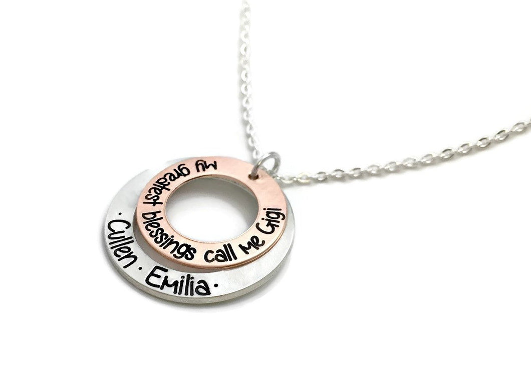 My Greatest Blessings Call Me Mimi - Mixed Metal Necklace