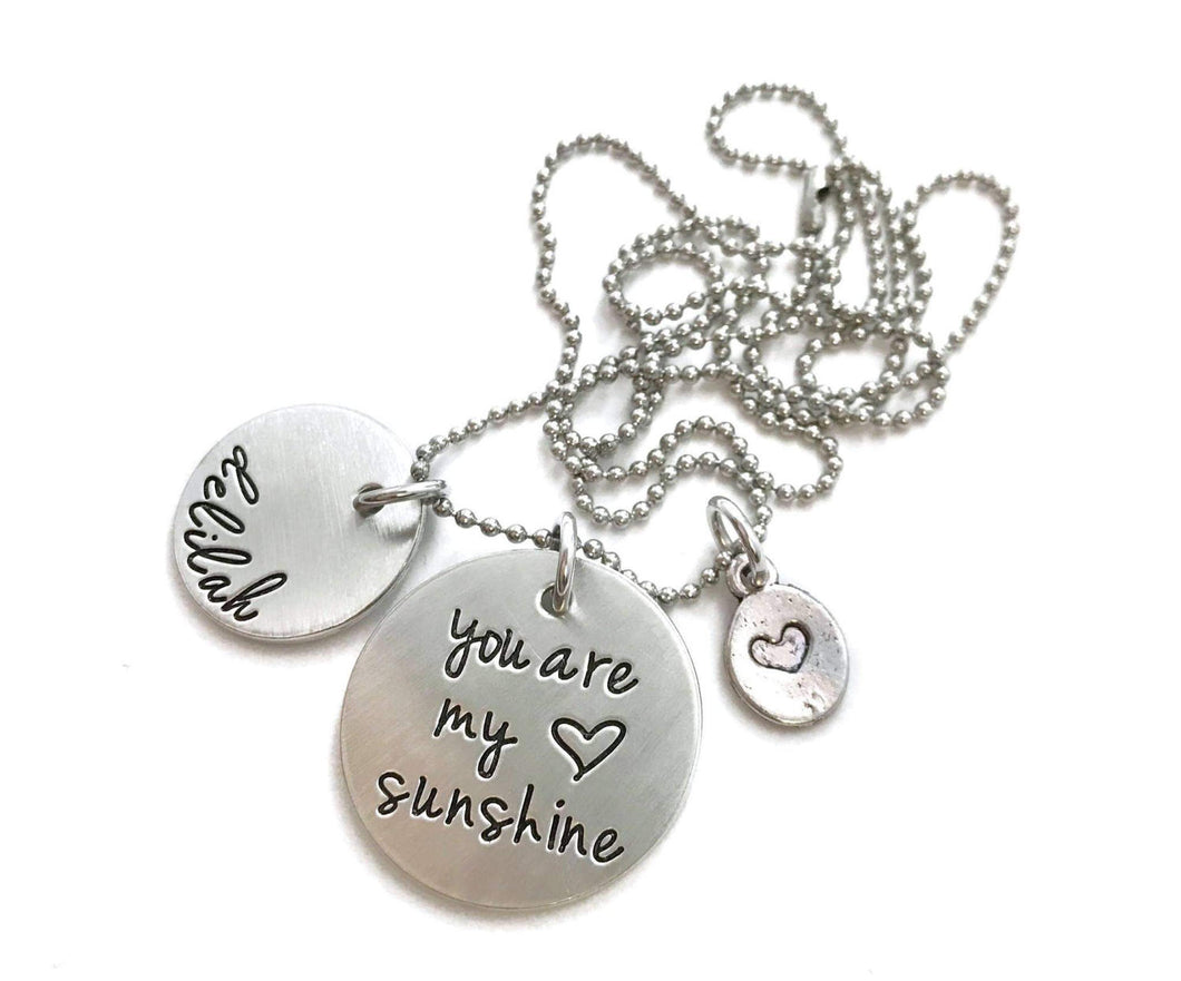 You Are My Sunshine Heart Charm Necklace