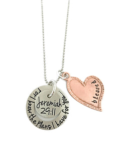 For I Know The Plans I Have For You, Jeremiah 29:11 Mixed Metal Heart Necklace