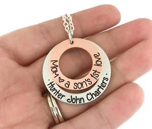 Mom, A Son's First Love Mixed Metal Necklace