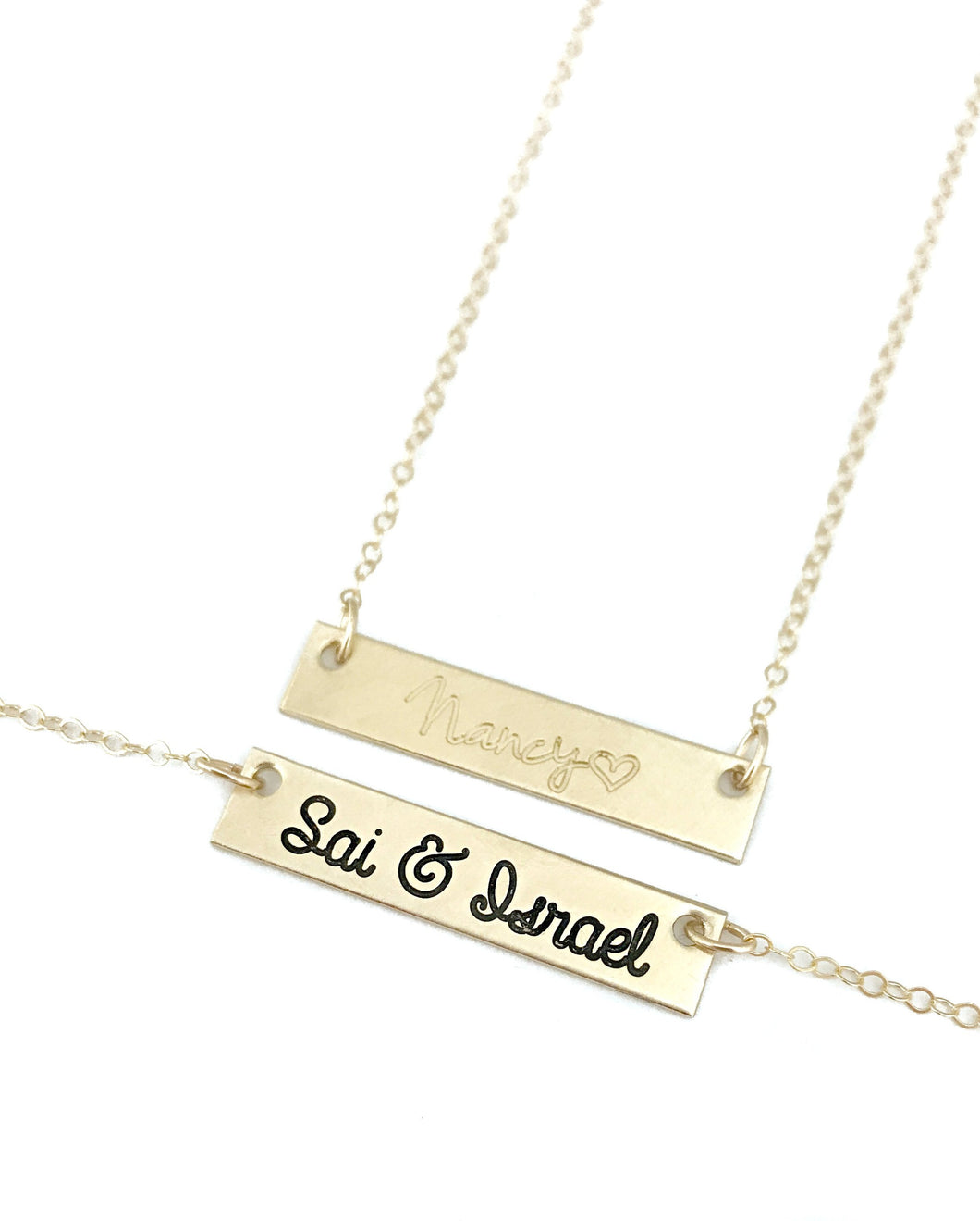 SOLID 14K GOLD Sweethearts Bar Necklace