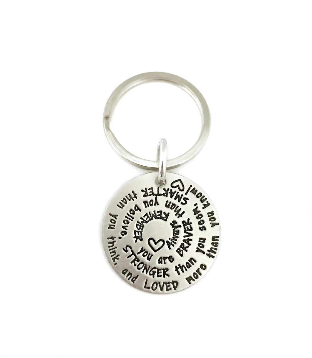 You Are Braver - Spiral Hearts Key Chain