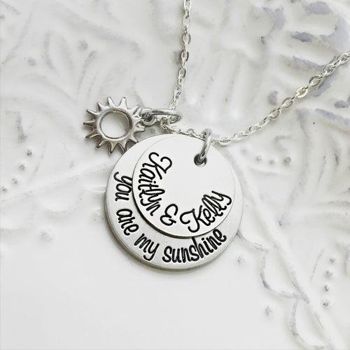 You Are My Sunshine Cursive Necklace