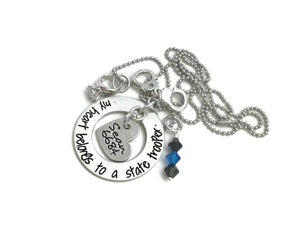 My Heart Belongs To A State Trooper - Hand Cuffs Ring Necklace