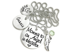 Mommy to An Angel In Heaven (Personalized) - Custom Loss Memorial Remembrance Miscarriage Necklace