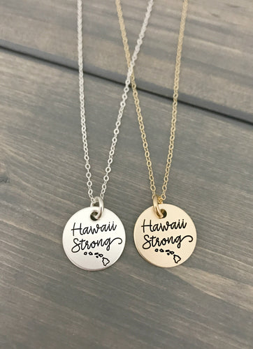 Hawaii Strong Necklace - Hurricane Lane - Pray for Hawaii - Minimalist