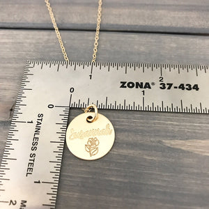 Personalized 14k Solid Gold Necklace - 5/8""
