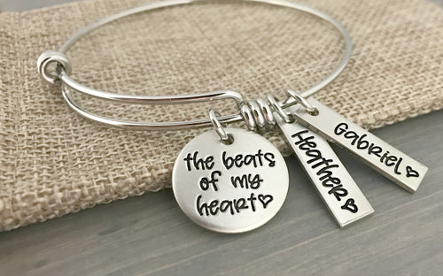 The Beats of my Heart Personalized Bangle Bracelet