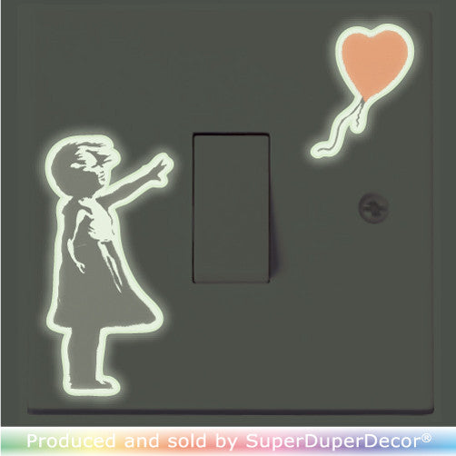 Banksy Girl With Balloon light switch stickers