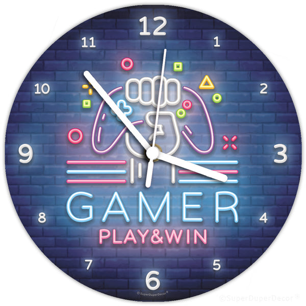 Video Gamer neon glow - wall clock