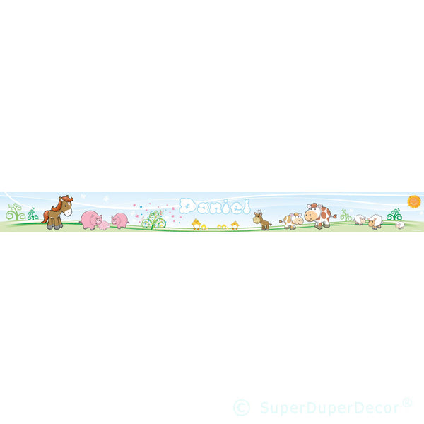 Cute Farm Animals wall border