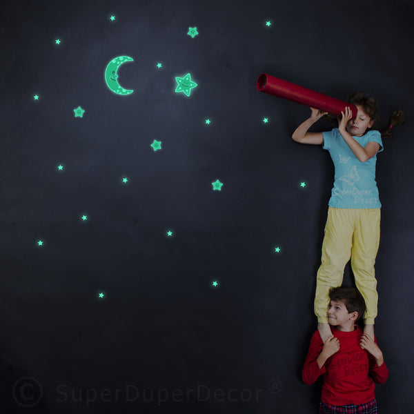 Glow Cute Moon And Stars - Stickers