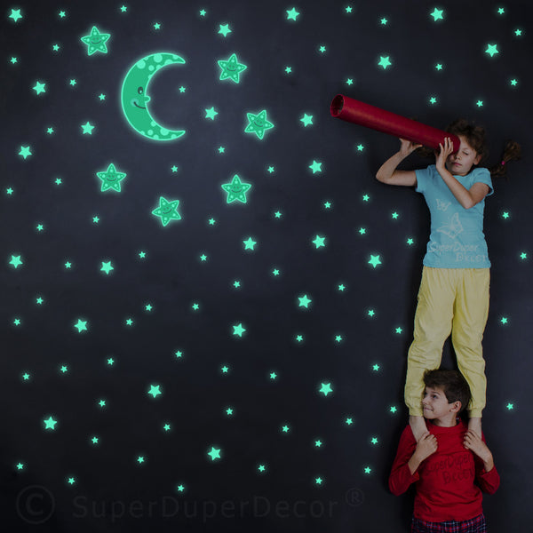 Glow Cute Moon And Stars Stickers
