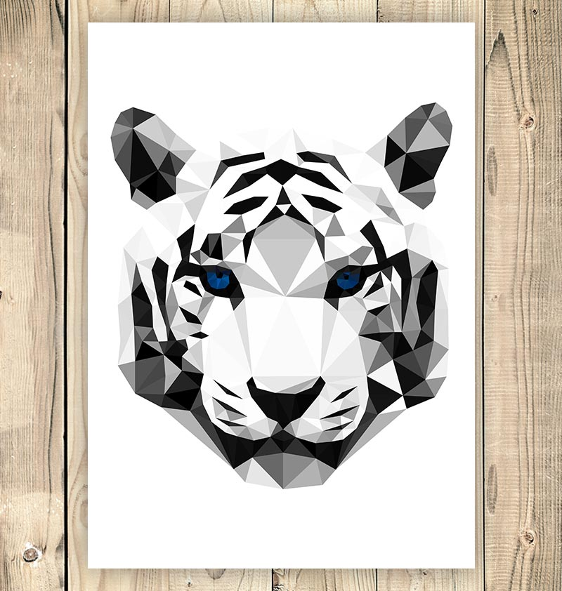 tiger hear geometric art print