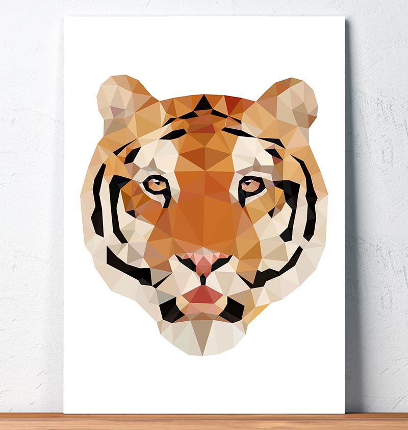 geometric print tiger head animal art