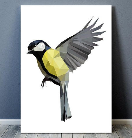 Bird wall art - Great tit II - Geometric art