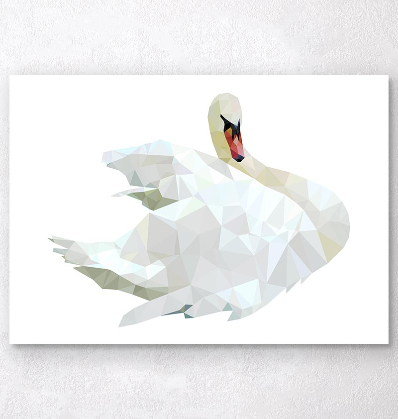 Bird art - Swan - Geometric art