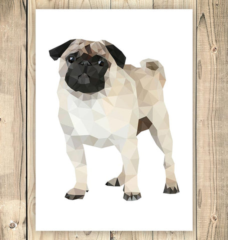 vertical geometric pug art