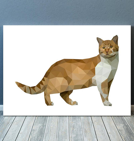 horizontal animal art cat in geometric style
