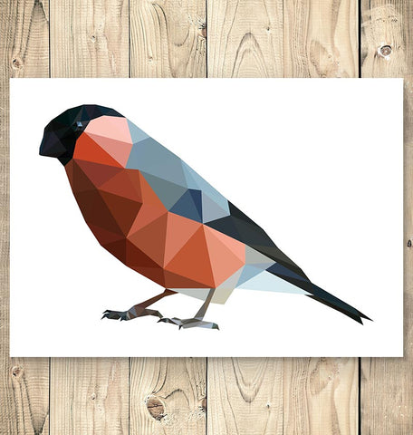Bird wall art - Bullfinch - Geometric art