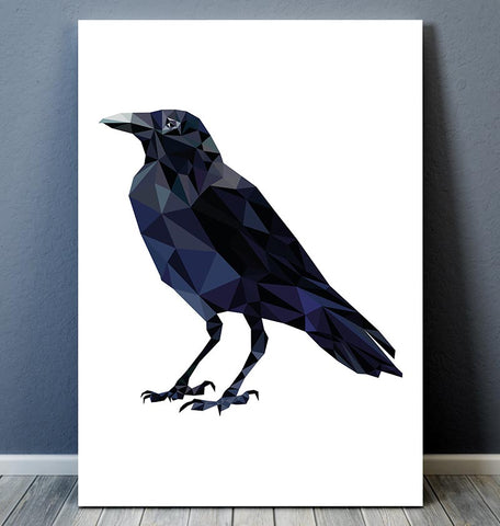 Raven illustration - Bird print - Geometric art