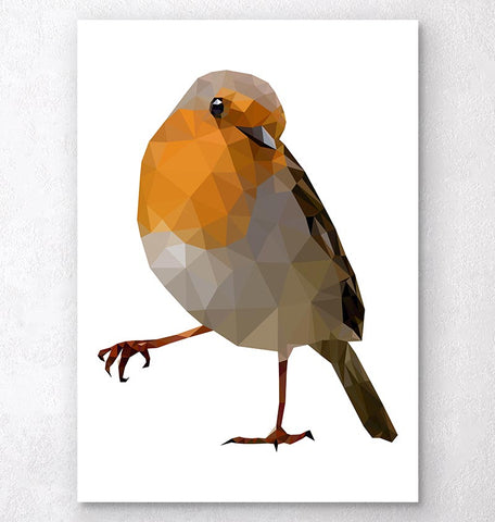 Robin print - Bird wall art - Geometric art