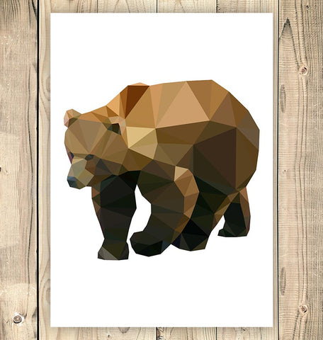 geometric animal poster bear