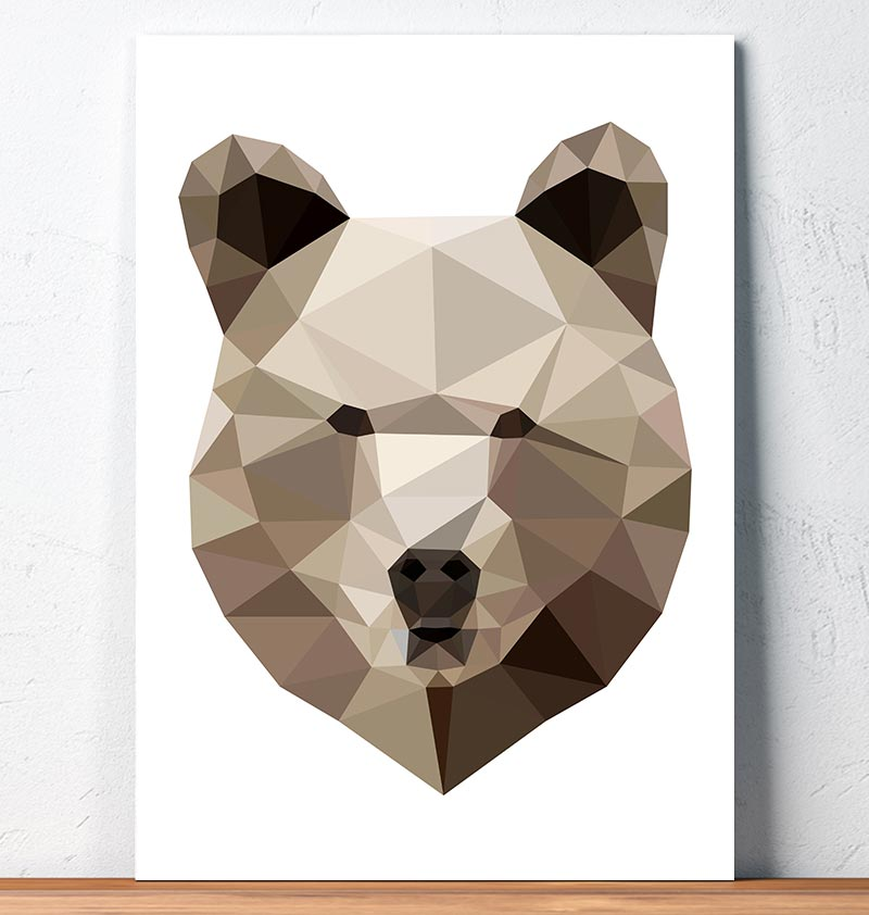 geometric animal print bear head