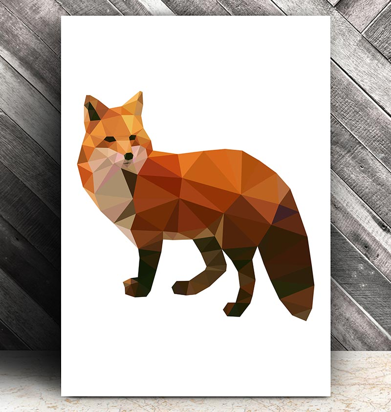geometric fox animal art