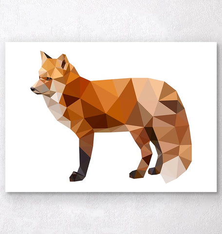 geometric animal poster fox