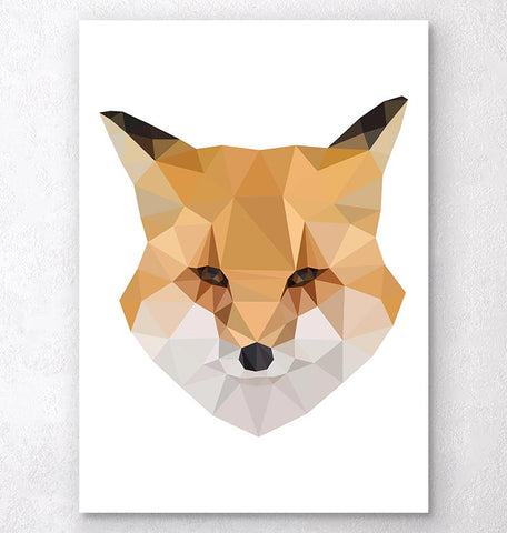 fox head geometric animal print
