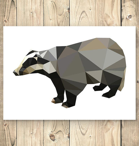 cute geometric badger animal poster