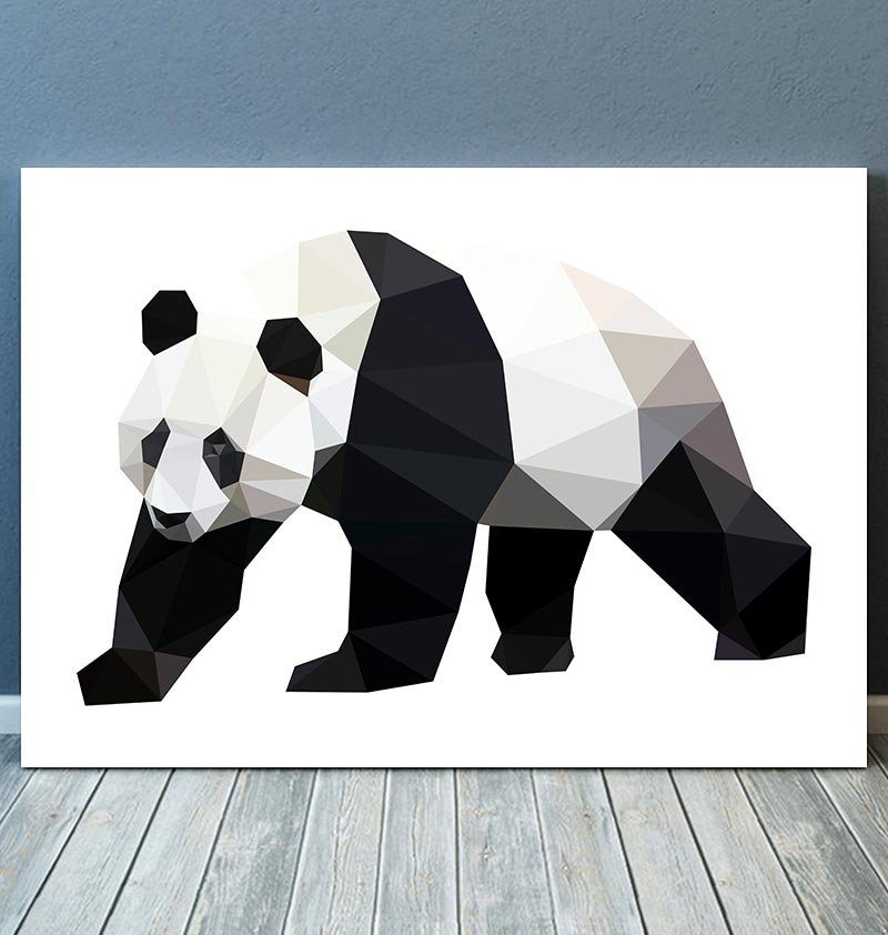 geometric animal poster with panda
