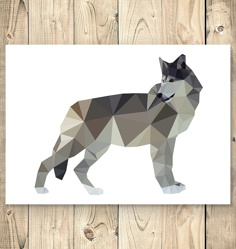 wolf geometric animal wall art