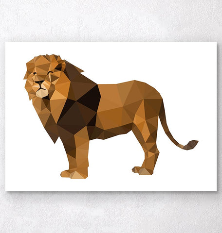 geometric lion animal print