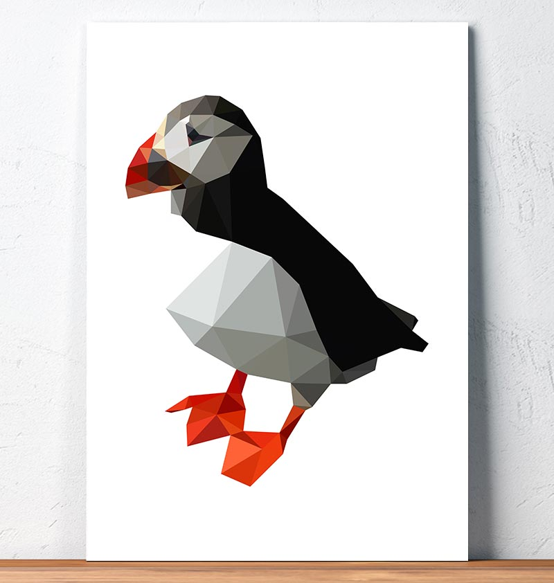 Puffin - Bird print - Geometric art