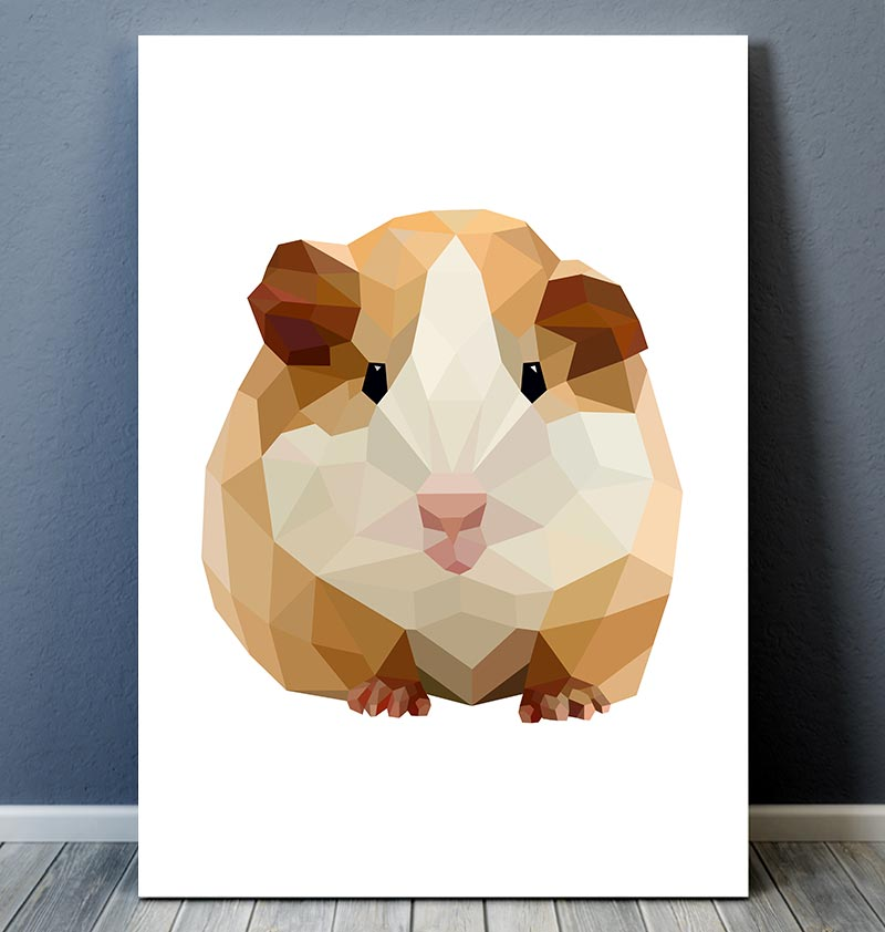 cute geometric guinea pig art print