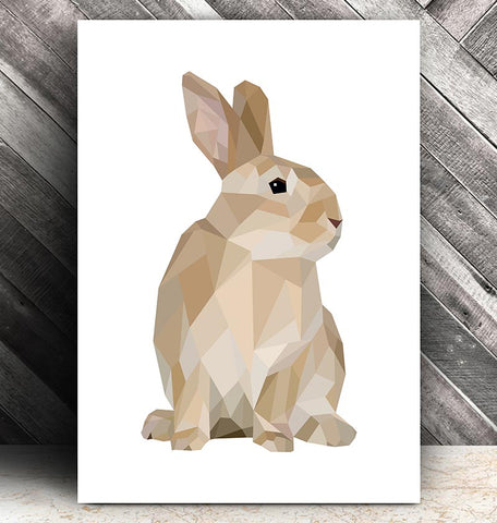 geometric rabbit animal art