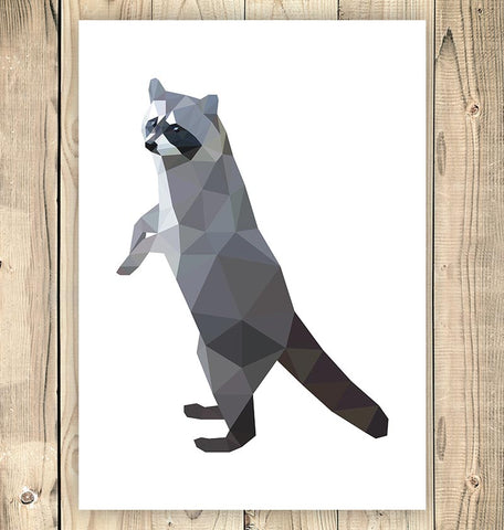 geometric standing raccoon animal poster