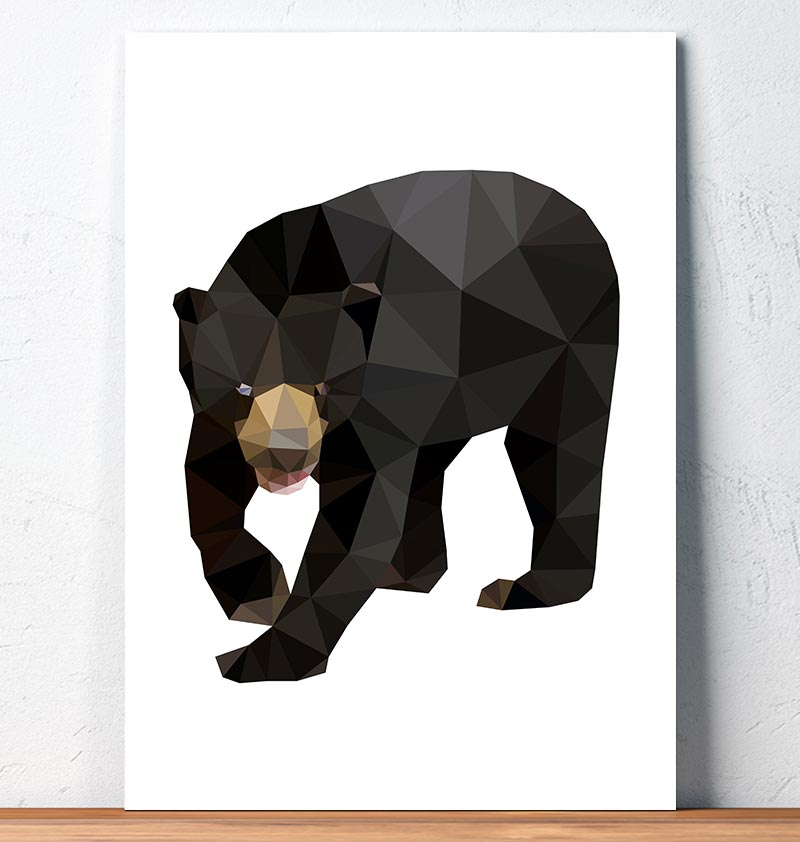 sun bear geometric animal wall art