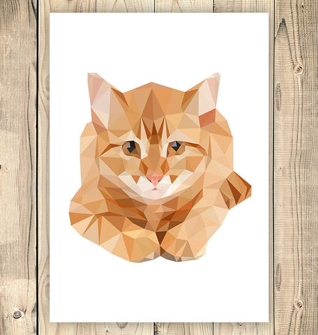vertical geometric animal wall art with ginger cat
