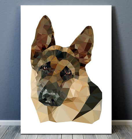 german shepherd geometric dog poster