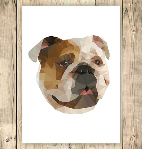 bulldog geometric animal print